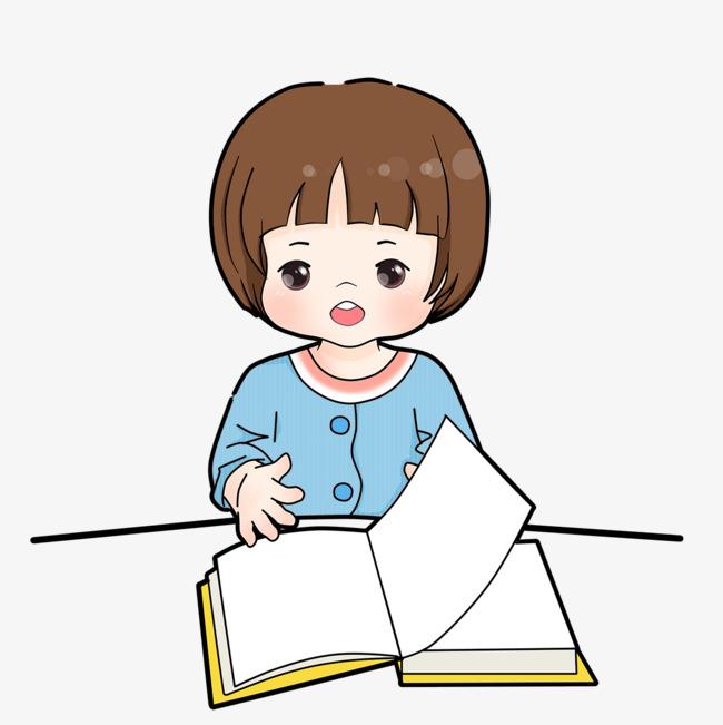 手绘图书馆读书的小女孩