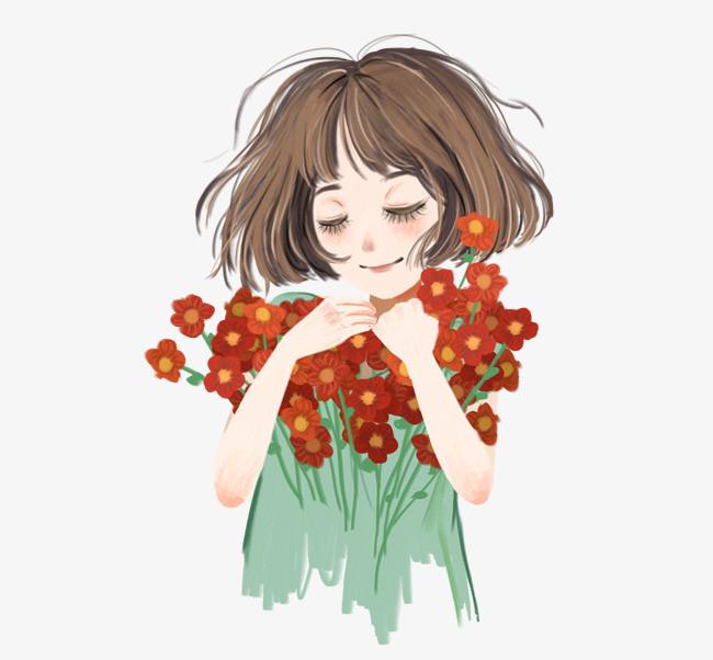 手绘小清新捧花的女孩人物