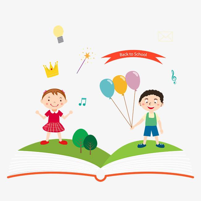 卡通开学季手绘读书儿童图案