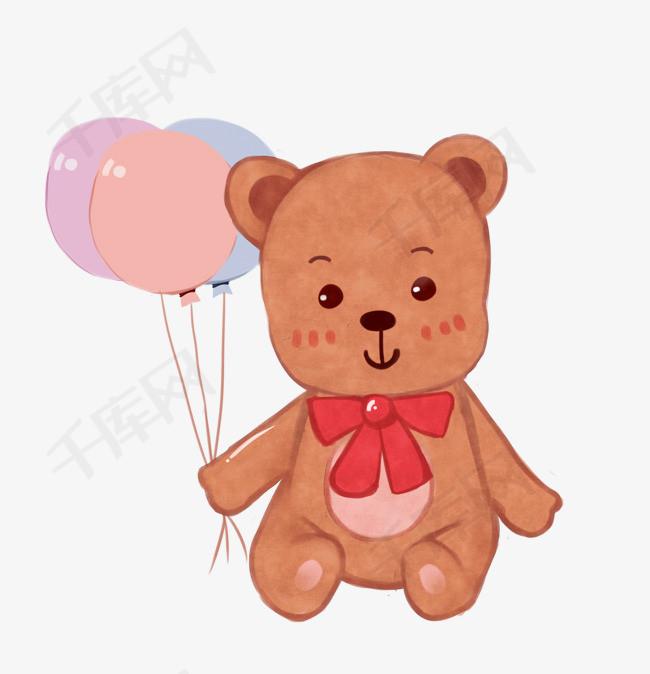儿童节卡通手绘可爱小熊布偶图片