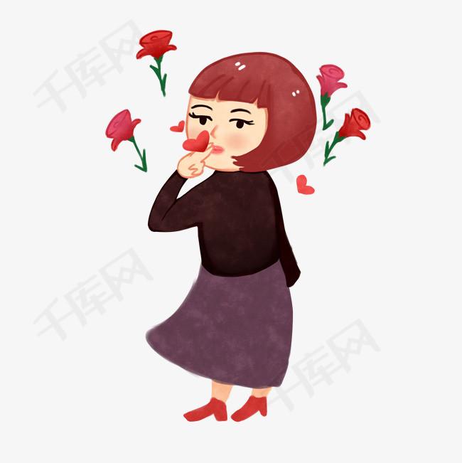亲吻情人节飞吻女孩手绘插画素材图片免费下载_高清