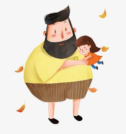 父亲与女儿亲情插画