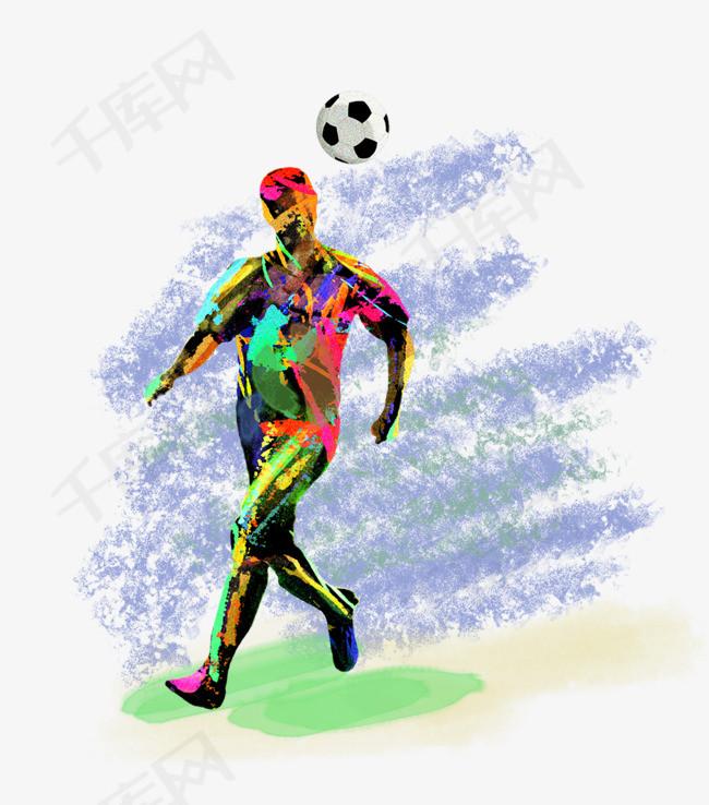 2018世界杯激情足球运动员水彩手绘