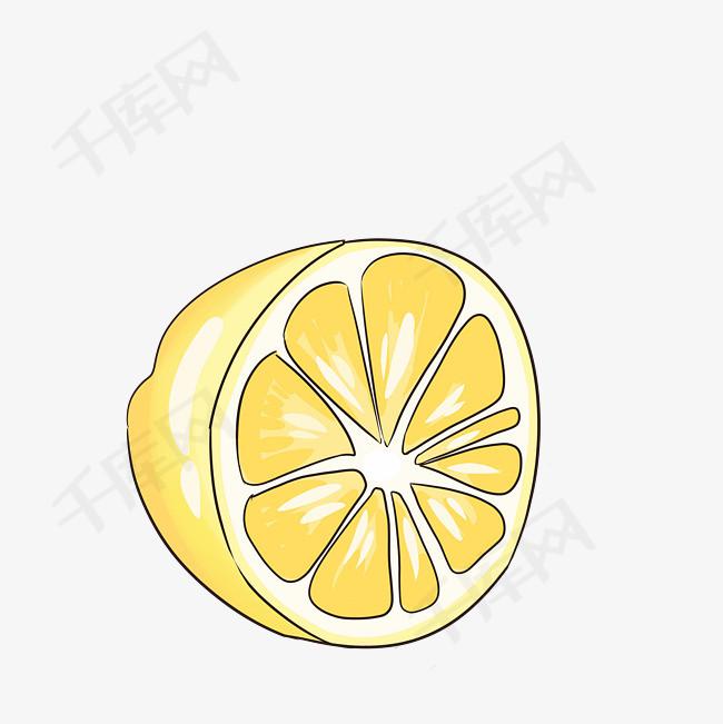 卡通手绘半个柠檬果插画
