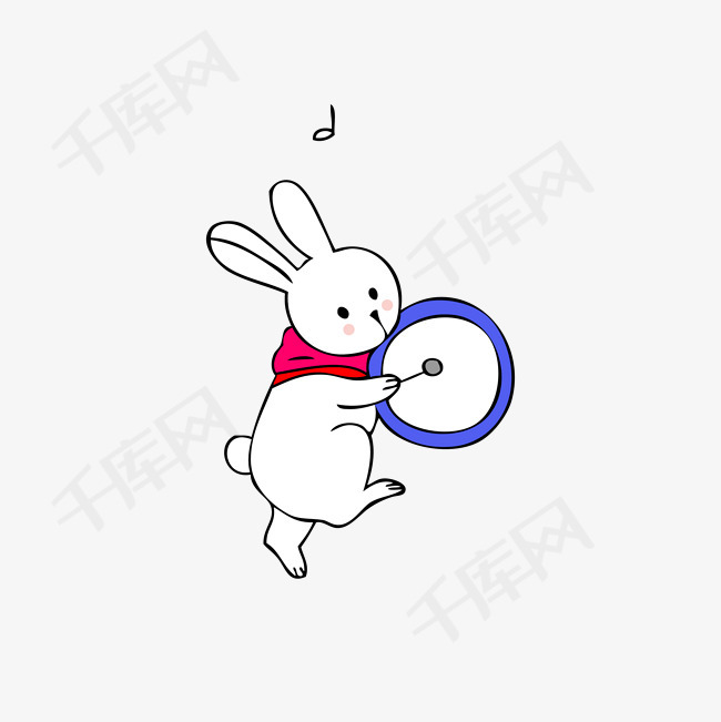 可爱卡通打鼓的音乐兔子