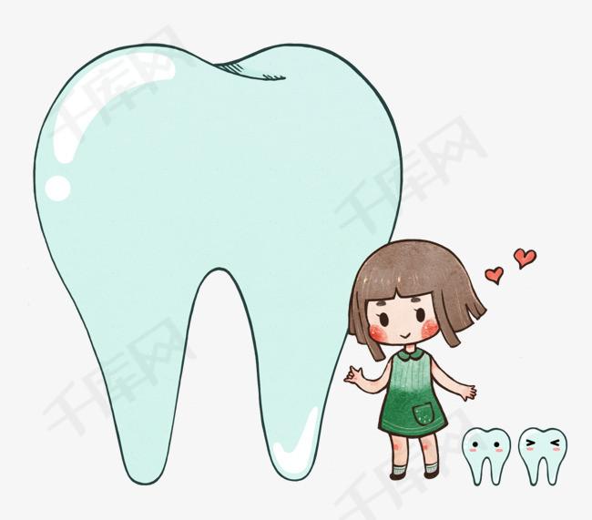 原创全国爱牙日健康牙齿可爱q版小女孩卡通水彩图片