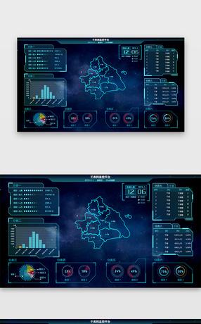 深蓝色数据可视化页面