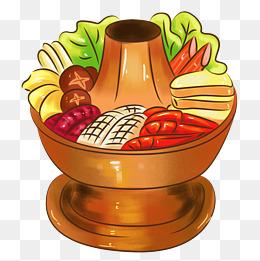 卡通美食新年餐饮东北菜海鲜火锅概念画图片