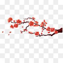红色梅花中国风花卉贺卡海报psd元素