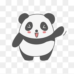 黑白卡通矢量熊猫表情图片