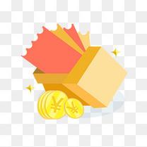 立体风格矢量礼盒卡券与现金奖品