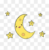 卡通可爱的月亮星星太阳矢量素材