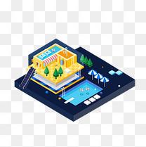 泳池派对建筑2.5D立体风格矢量免抠图