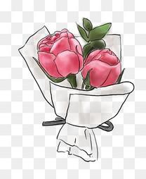 520手绘粉色玫瑰花