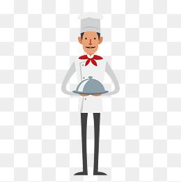 卡通餐厅服务员矢量素材图片