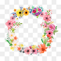 清新水彩花卉边框设计