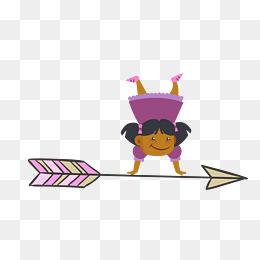 矢量卡通扁平化儿童节女孩倒立素材图片
