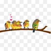 原创爱心亲吻小鸟