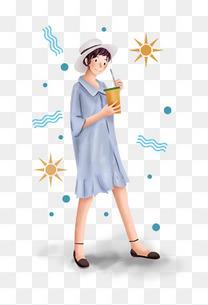 大暑小暑暑假夏日夏季喝饮料的女孩