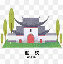 卡通武汉地标建筑插画