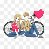 骑着单车出游玩耍的情侣