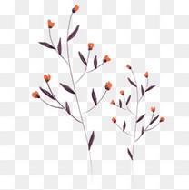 手绘唯美花枝花朵插画