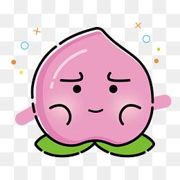 矢量卡通扁平化水蜜桃纠结表情图片