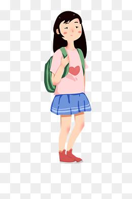 开学中学生女生背书包上学手绘