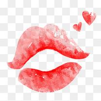 七夕节手绘红色嘴唇