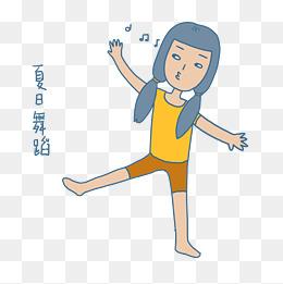夏日清凉手绘卡通可爱双马尾女孩跳舞表情包图片