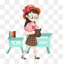 卡通手绘小仙女的夏日穿搭之校园读书装图片