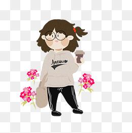 四季穿搭运动套装卡通女孩插画图片