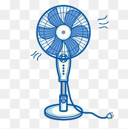 矢量手绘夏日电风扇图片