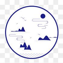 山水圆形云开见日元素图案