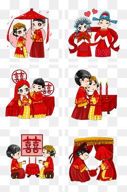 古代古装结婚礼服喜服新郎新娘手绘插画