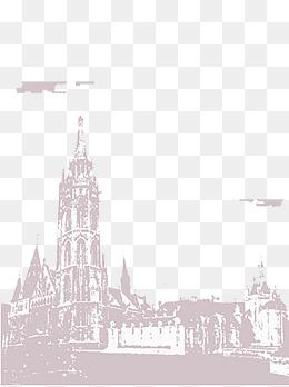 欧洲旅游风景建筑手绘图