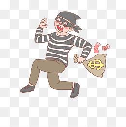 警察抓小偷卡通手绘图片
