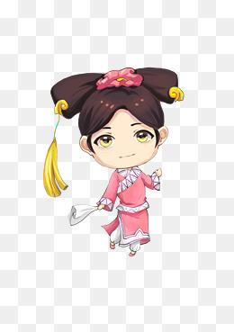 清朝卡通手绘妃子格格拿手帕清装旗袍透明背景元素