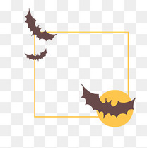 万圣节蝙蝠月圆边框插画
