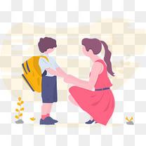 孩子开学妈妈送孩子上学