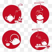 饮茶文化古风格手绘