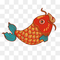 新年新春鲤鱼卡通鱼跃龙门