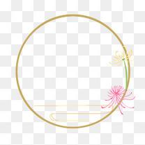 重阳节圆形菊花边框插画