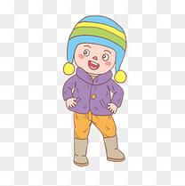 冬季高兴小男孩卡通手绘