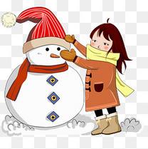 秋冬主题堆雪人卡通女生插画