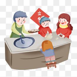 手绘卡通立冬包饺子图片