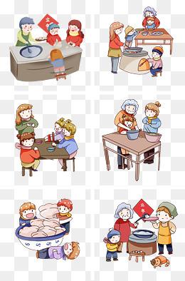 手绘卡通立冬包饺子套图图片