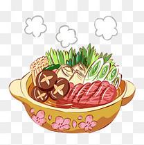 冬季热气腾腾的手绘小清新美食蔬菜牛肉砂锅