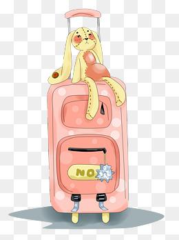 动漫手绘原创厚涂唯美小清新少女行李箱与玩偶png