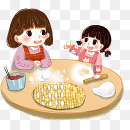 立冬时节和妈妈一起包饺子图片
